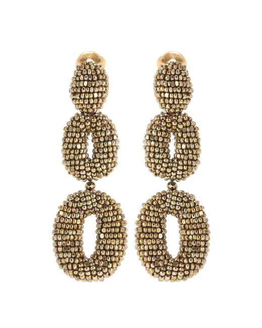 Oscar de la Renta - Metallic Oscar O Beaded Earrings - Lyst
