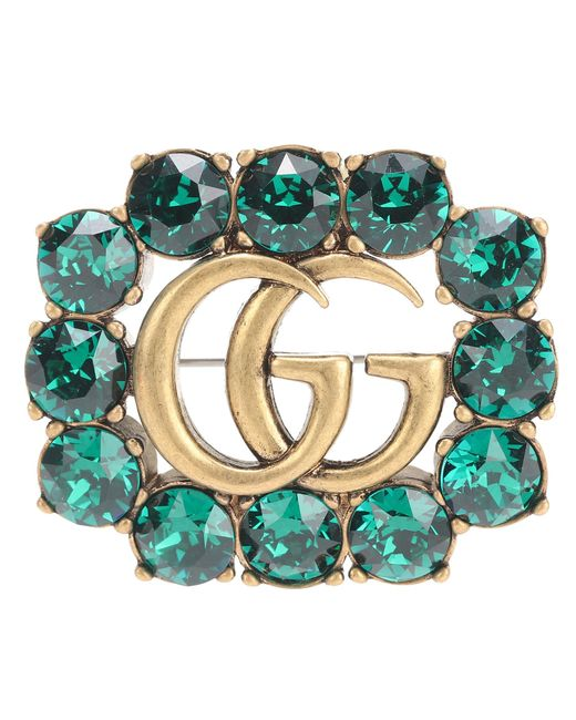 Gucci - Green Crystal-embellished Brooch - Lyst