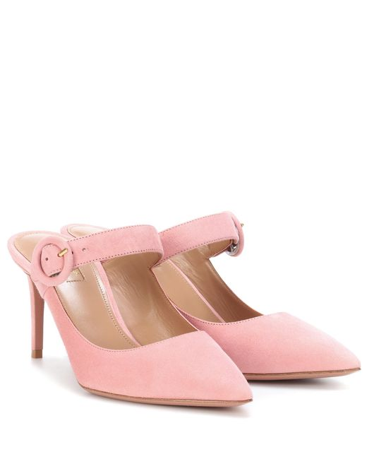 Aquazzura - Pink Blossom 75 Suede Mules - Lyst