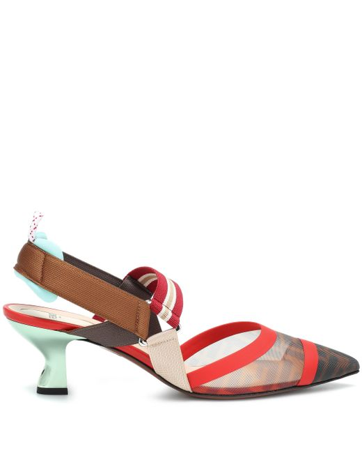 24fe697bccd Lyst - Fendi Colibrì Slingback Pumps in Red - Save 11%