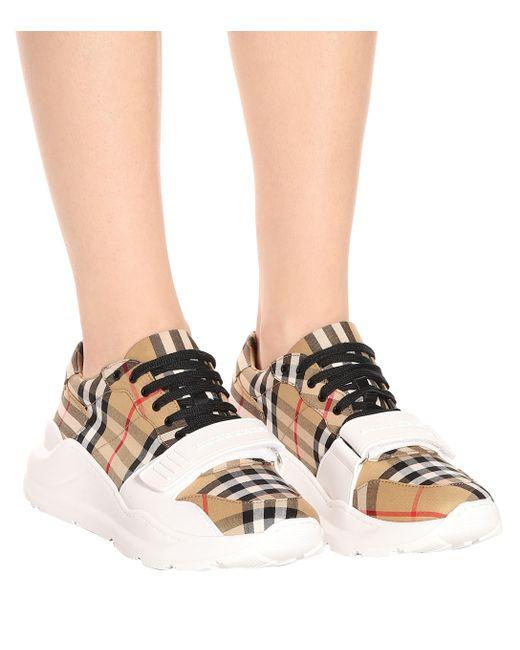 ead086afeb81 ... Burberry - Natural Women's Regis Vintage Check Platform Sneakers - Lyst