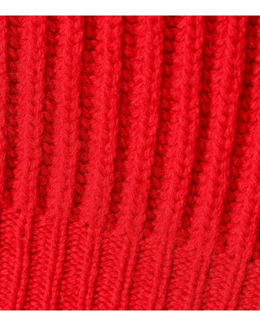 ... Balenciaga - Red Lace-trimmed Wool Sweater - Lyst ... cc080f6d8