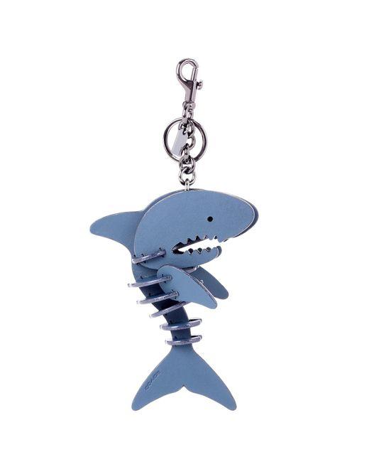 COACH - Blue Leather Shark Bag Charm - Lyst