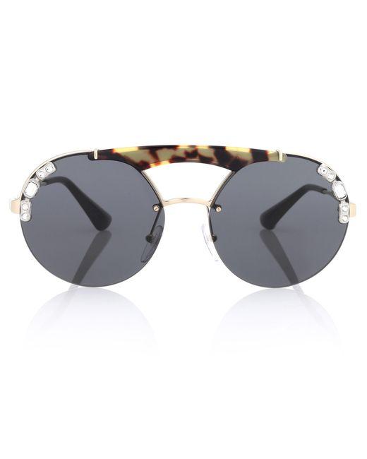 Prada - Black Tortoiseshell Aviator Sunglasses - Lyst