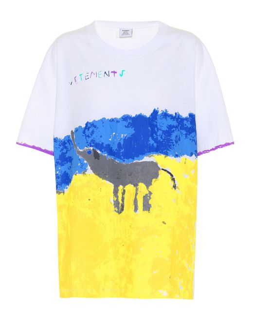 Vetements - White Printed Cotton T-shirt - Lyst