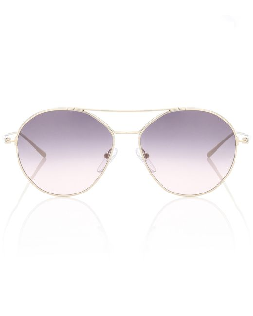 Prada - Metallic Aviator Sunglasses - Lyst