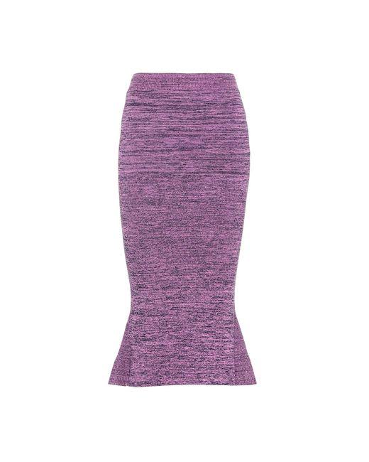 Stella McCartney - Purple Knitted Cotton Midi Skirt - Lyst