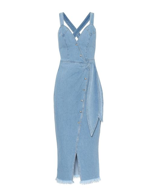 Nanushka - Blue Santal Denim Wrap Dress - Lyst