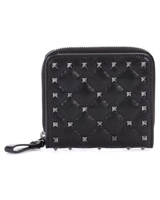 Valentino | Black Garavani Rockstud Leather Wallet | Lyst