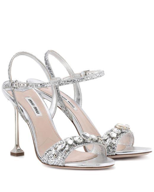 Miu Miu - Metallic Embellished Leather Sandals - Lyst