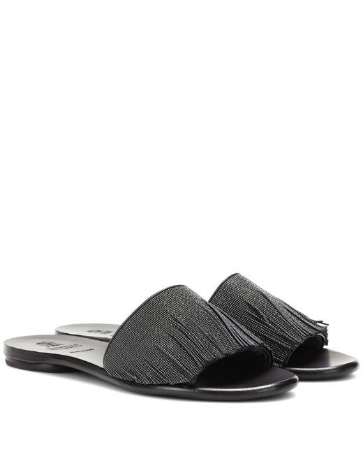 Brunello Cucinelli - Black Fringed Leather Sandals - Lyst