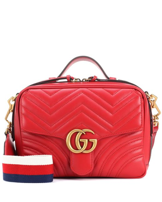 Gucci - Red Gg Marmont Matelassé Leather Shoulder Bag - Lyst