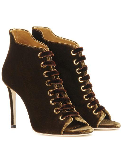 Jimmy Choo | Brown Mavy 100 Peep-toe Velvet Ankle Boots | Lyst