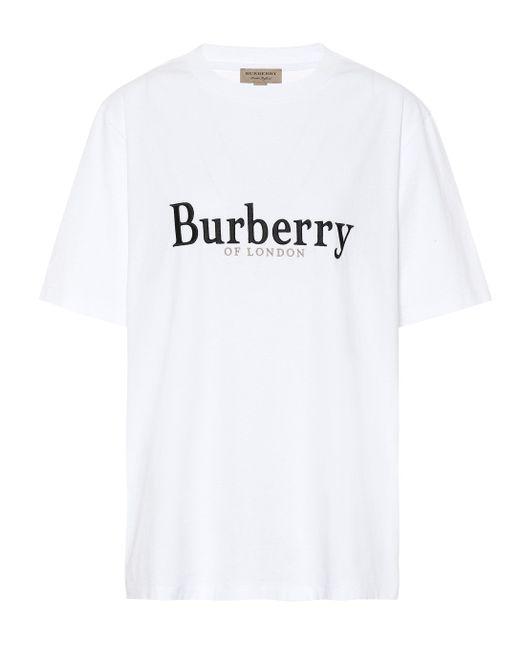 Burberry - Black Camiseta de algodón bordada - Lyst