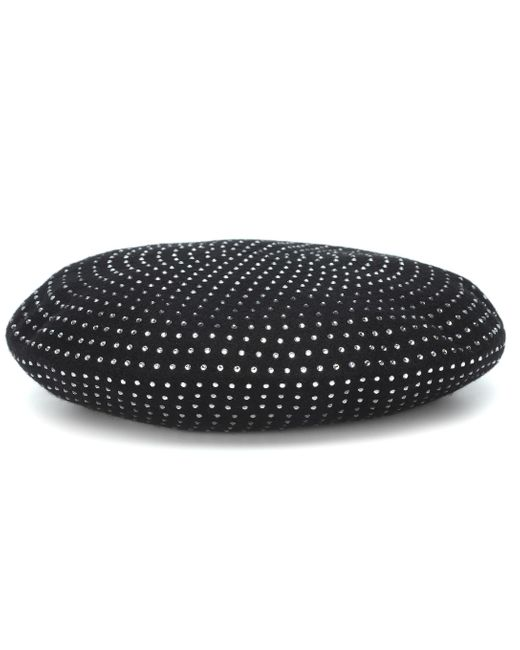 Saint Laurent Black Crystal-embellished Wool Beret