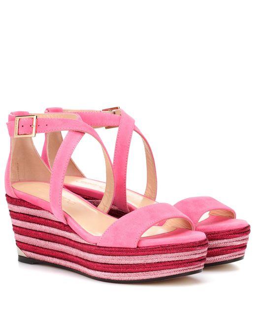 Jimmy Choo - Pink Portia 70 Wedge Sandals - Lyst