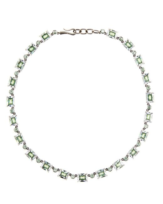 Bottega Veneta - Metallic Silver And Cubic Zirconia Necklace - Lyst