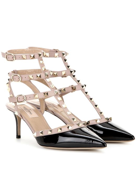 Valentino - Natural Rockstud Patent Leather Kitten-heel Pumps - Lyst