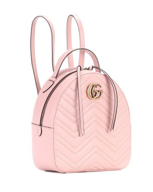 a08480797a Lyst - Sac à dos en cuir matelassé GG Marmont Gucci en coloris Rose