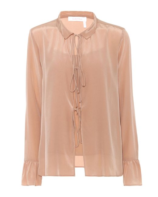 See By Chloé | Natural Silk Blouse | Lyst