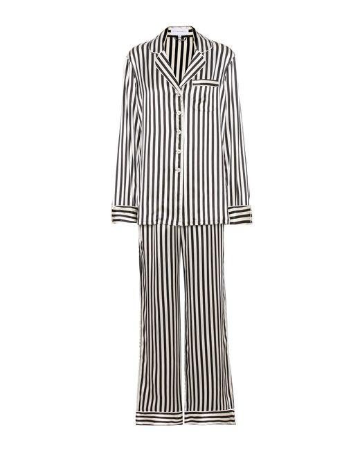 Olivia Von Halle   Black Lila Nika Striped Silk Pyjama Set - Size 4   Lyst
