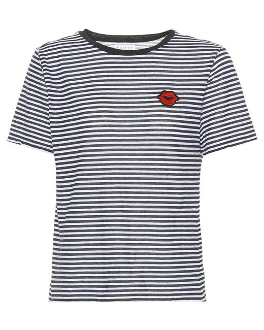 Velvet | Blue Rain Striped Cotton-blend T-shirt | Lyst
