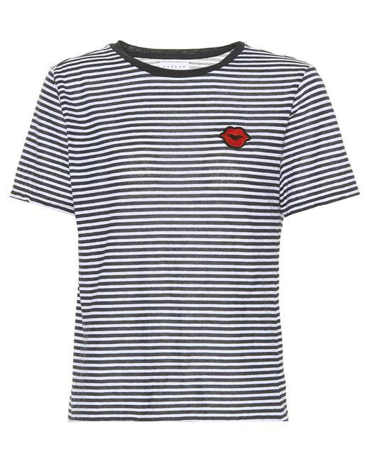 Velvet - Blue Rain Striped Cotton-blend T-shirt - Lyst