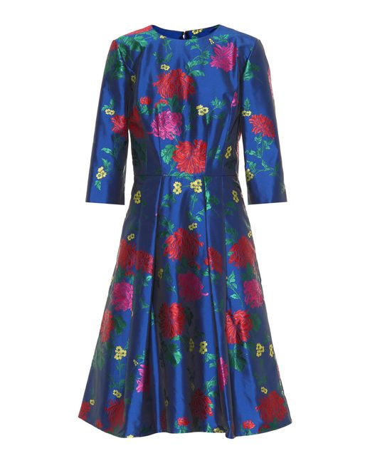 Carolina Herrera - Blue Floral Jacquard Dress - Lyst