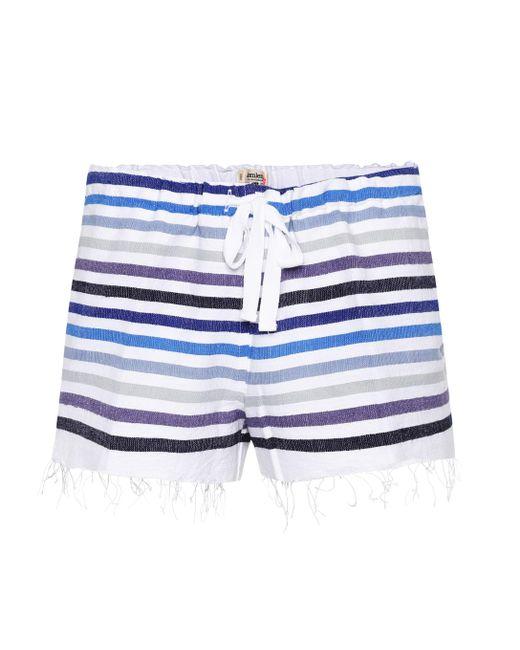 Lemlem - Blue Striped Cotton-blend Shorts - Lyst