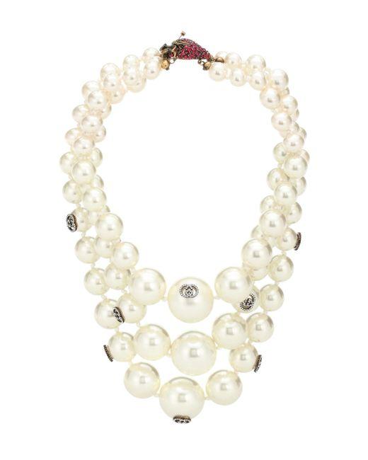 Gucci White Strawberry Faux Pearl Necklace