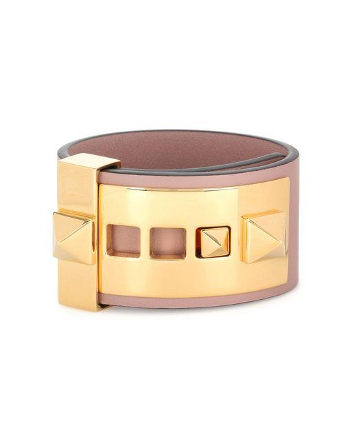 Valentino - Pink Rockstud Leather Cuff - Lyst
