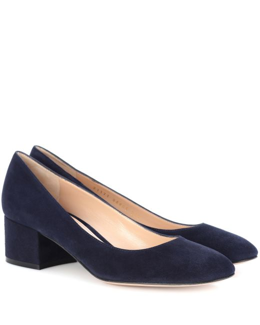 be38cf9bdb57 Gianvito Rossi - Blue Exclusive To Mytheresa.com – Linda 45 Suede Pumps -  Lyst ...
