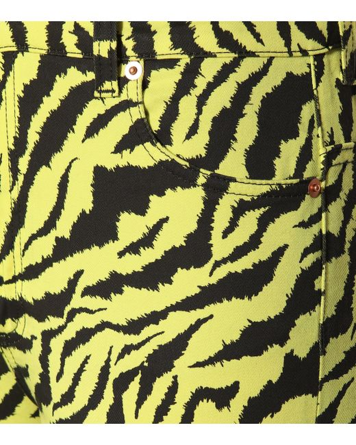 56164c6ec Gucci Tiger Stripe Cotton Blend Skinny Jeans in Yellow - Save 1% - Lyst