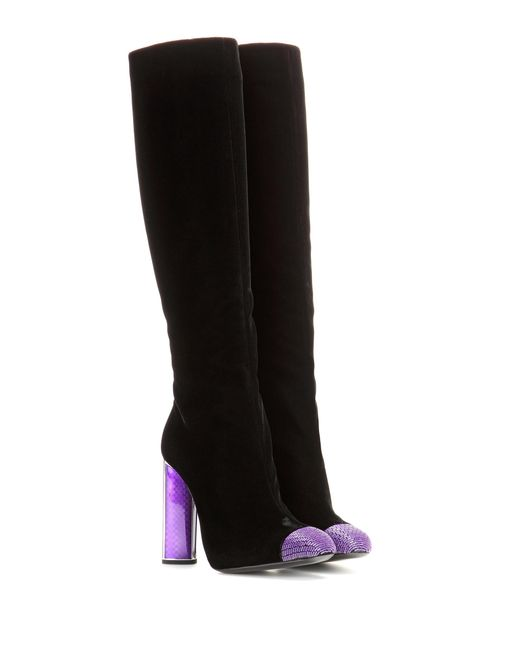 Tom Ford - Black Embellished Velvet Knee-High Boots - Lyst