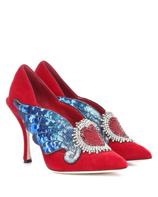 91207cad33ac Dolce   Gabbana - Red Lori Embellished Velvet Pumps - Lyst ...