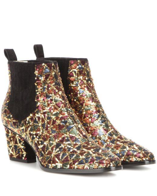 Roger Vivier - Multicolor Skyscraper Sequin-embellished Ankle Boots - Lyst
