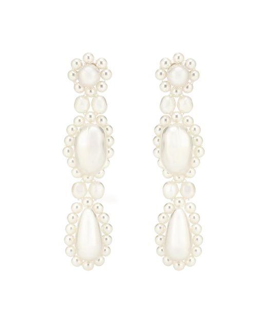 Simone Rocha - White Faux Pearl Drop Earrings - Lyst