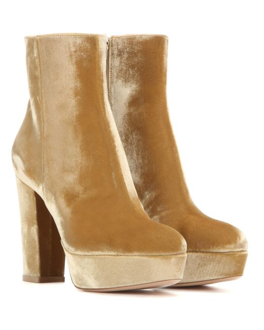 Gianvito Rossi - Brown Temple Velvet Ankle Boots - Lyst