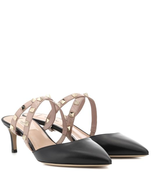 Valentino - Black Garavani Studwrap Leather Mules - Lyst