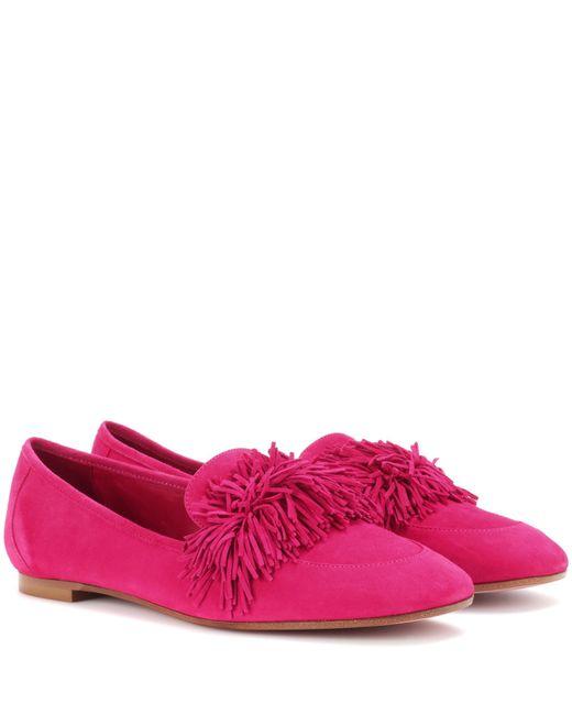 Aquazzura - Pink Wild Suede Loafers - Lyst