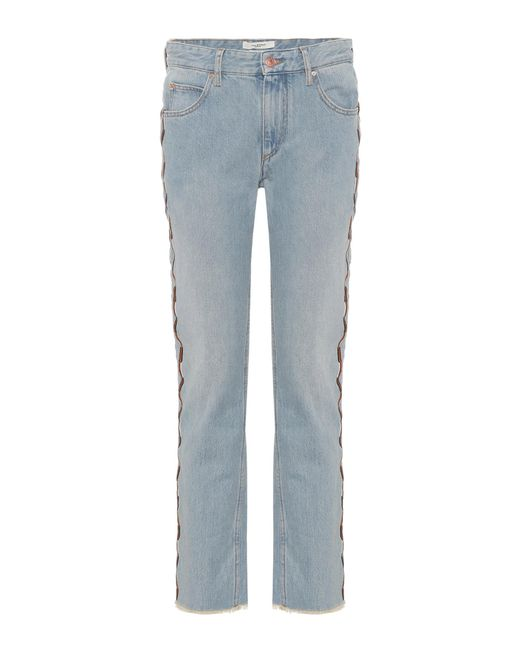 U00c9toile Isabel Marant Colan Embroidered Jeans In Blue - Lyst