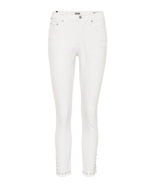 Citizens of Humanity - White Verzierte Cropped Jeans - Lyst
