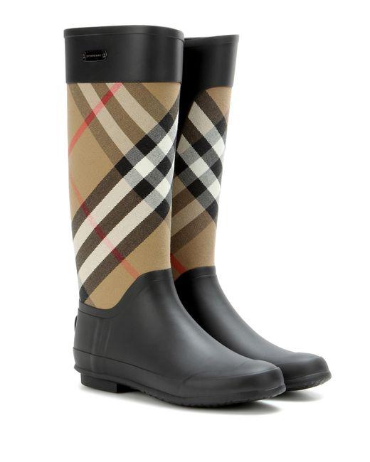 Burberry | Black Clemence Rubber Rainboots | Lyst