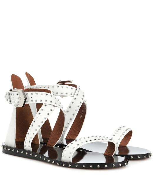 Givenchy - White Studded Leather Sandals - Lyst