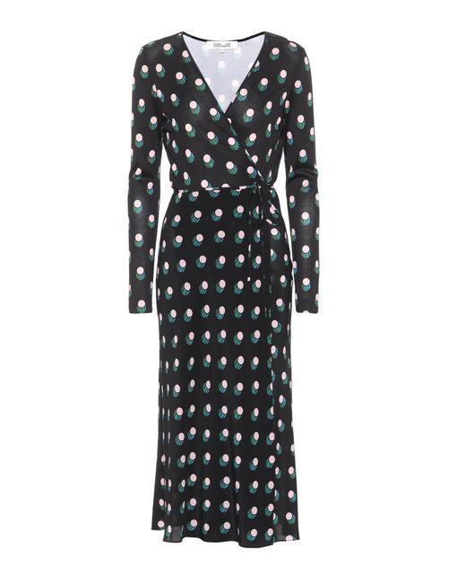 Diane von Furstenberg | Black Printed Silk Wrap Dress | Lyst