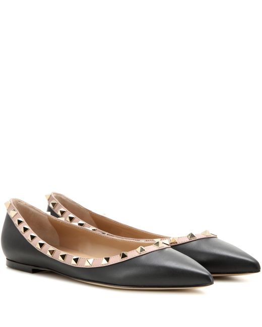 Valentino | Black Garavani Rockstud Leather Ballerinas | Lyst