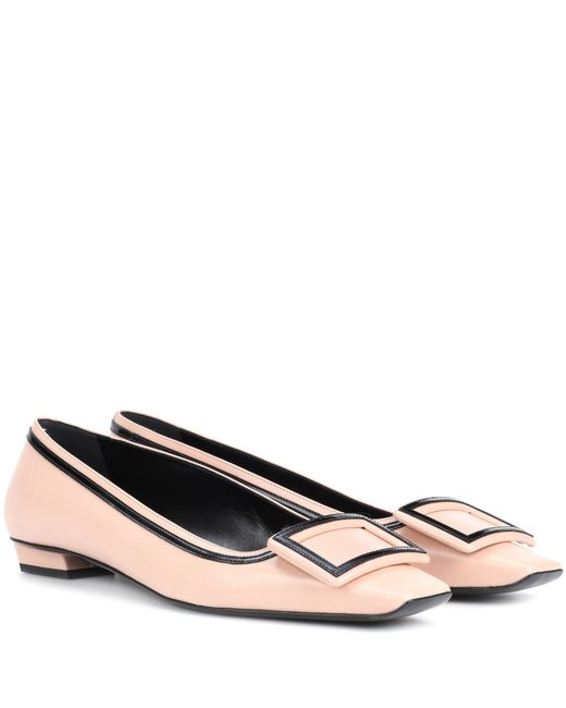 Roger Vivier - Multicolor Décolleté Belle Vivier Leather Ballerinas - Lyst