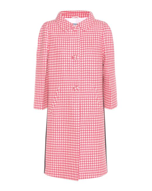 Prada | Pink Houndstooth Virgin Wool Coat | Lyst
