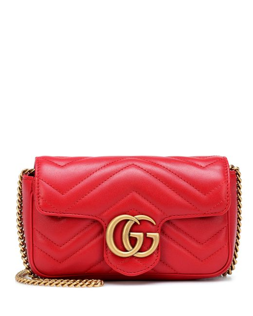 d1f7bd62065283 Gucci - Red Gg Marmont Matelasse Leather Mini Chain Shoulder Bag - Lyst ...
