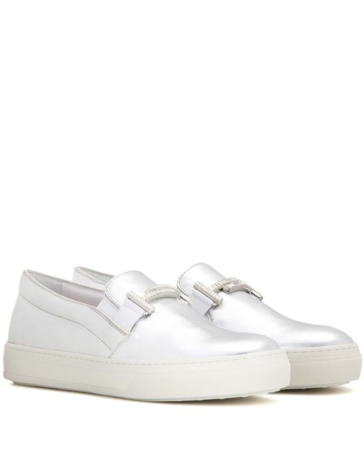 Tod's | Sportivo Double T Metallic Leather Slip-on Sneakers | Lyst